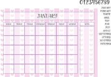 紫罗兰色镶边背景的月度计划者与心脏 库存图片