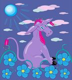 紫罗兰色颜色驴  库存图片