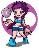 紫罗兰色魔术比赛女孩 库存图片