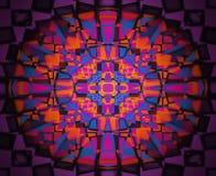 紫色和橙色万花筒特征模式 免版税库存照片