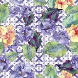 紫色和橙色gardania花 花卉植物的花 无缝的背景模式 免版税图库摄影