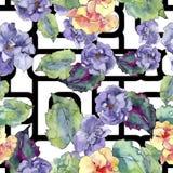 紫色和橙色gardania花 花卉植物的花 无缝的背景模式 免版税库存图片