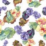 紫色和橙色gardania花 花卉植物的花 无缝的背景模式 图库摄影