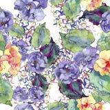 紫色和橙色gardania花 花卉植物的花 无缝的背景模式 库存图片