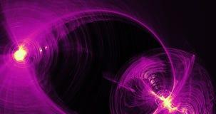 紫色和黄色抽象线曲线微粒背景 免版税库存图片