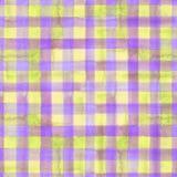 紫色和黄色格子花呢披肩无缝的样式 库存图片