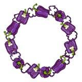 紫色响铃Peper花圈 一半胡椒裁减紫罗兰色甜辣椒粉和圆环  新鲜的成熟未加工的蔬菜诗歌选 库存图片