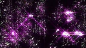 紫色夜城市抽象夜场面  Loopable 向量例证