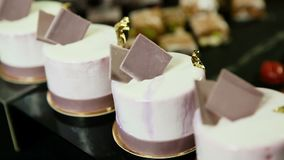 紫色奶油甜点的宏观缓慢的全景微型与巧克力装饰 股票视频