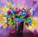 紫色开花花束 库存图片