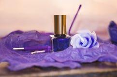 紫色指甲油瓶、装饰蜡烛和香火 免版税库存图片