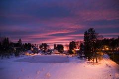 紫色日落 库存图片