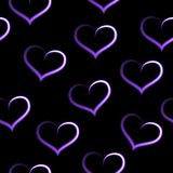 紫色白色退色的心脏,无缝的爱样式,黑背景 图库摄影
