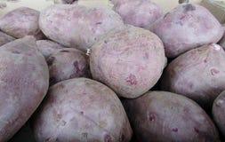 紫色白薯/在市场摊位的Dioscorea Alata 免版税库存图片
