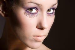 紫色的睫毛 免版税库存照片