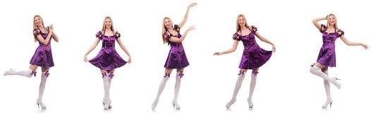 紫色礼服的美丽的舞蹈家 库存图片
