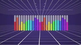 紫色背景上的彩色条形图 库存例证