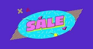 紫色背景4k上蓝色椭圆的销售图形 库存例证