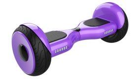 紫色自已平衡的滑行车 3d紫罗兰色自平衡的翱翔委员会翻译,隔绝在白色背景 库存例证