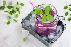 紫色莓果圆滑的人,未加工的食物的饮食 库存图片