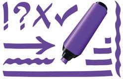 紫色萤光记号笔 图库摄影