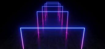 紫色蓝色充满活力的霓虹萤光长方形形状的科学幻想小说未来派轨道道路难看的东西水泥光滑的反射性地板 皇族释放例证