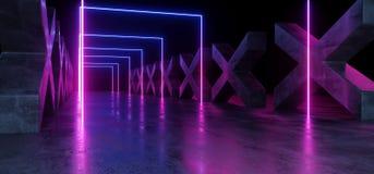 紫色蓝色黑暗的充满活力的霓虹萤光长方形形状的科学幻想小说未来派轨道道路难看的东西具体十字形光滑 向量例证