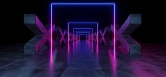 紫色蓝色黑暗的充满活力的霓虹萤光长方形形状的科学幻想小说未来派轨道道路难看的东西具体十字形光滑 皇族释放例证