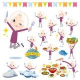 紫色衬衣老妇人White_food节日 库存照片