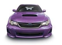 紫色轿车-正面图 图库摄影