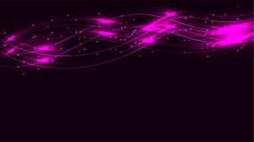 紫色透明抽象发光的不可思议的宇宙不可思议的能量标示,发出光线用强光,并且小点和光在pur的波浪发光 向量例证