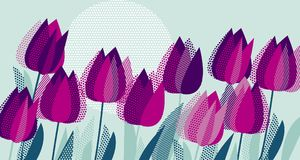 紫色郁金香开花与小点几何纹理样式 免版税库存照片