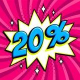 紫色销售网横幅 在漫画流行音乐艺术样式轰隆形状的销售百分之二十20在桃红色扭转的背景 重婚 库存图片