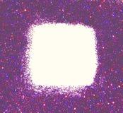 紫色闪烁框架在白色背景闪耀 库存照片