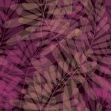 紫色颜色热带叶子无缝的样式 图库摄影