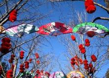 繁体中文旧历新年的寺庙市场 免版税库存图片