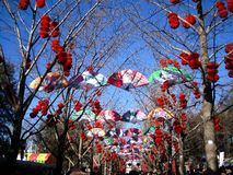 繁体中文旧历新年的寺庙市场 库存图片