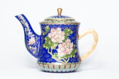 繁体中文景泰蓝制茶罐 库存图片