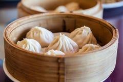 繁体中文汤充满的猪肉饺子肖龙宝 免版税图库摄影