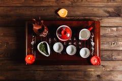繁体中文茶具仪式 免版税库存图片