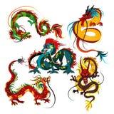 繁体中文龙、亚洲人的古老标志或瓷文化,新年庆祝,神话的装饰 库存例证
