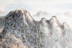 繁体中文绘画,山,树 免版税库存照片