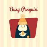 繁忙企鹅编织减速火箭 向量例证