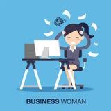 繁忙时间女实业家 免版税库存照片