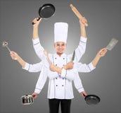 繁忙的主厨概念 免版税库存照片