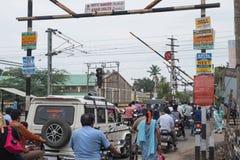 繁忙的印地安平交道口 库存图片