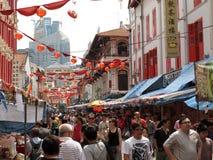 繁忙的唐人街街道 库存照片
