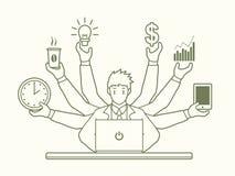 繁忙的商人用拿着许多项目的许多手 向量例证