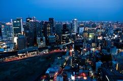 繁忙的夜在大阪日本 免版税图库摄影