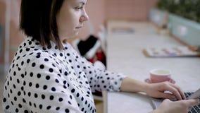 繁忙的女学生为在咖啡馆的检查做准备 影视素材